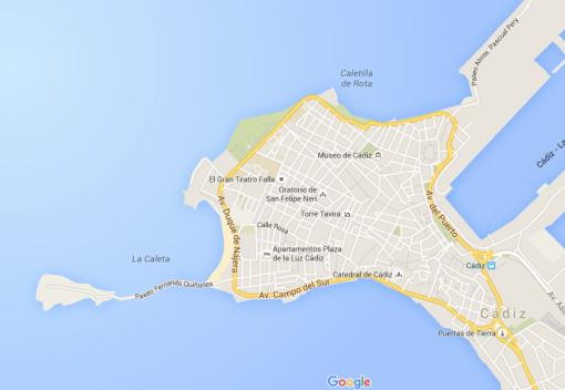 Cádiz está situada en un tómbolo frente al estuario del río Guadalete.